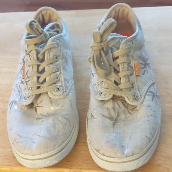 Vans Women's Beige Gold Metallic Shoes Size 8.5